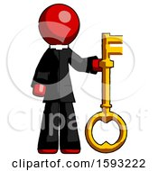 Red Clergy Man Holding Key Made Of Gold