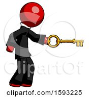 Red Clergy Man With Big Key Of Gold Opening Something