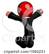 Red Clergy Man Jumping Or Kneeling With Gladness