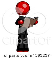 Red Clergy Man Reading Book While Standing Up Facing Away