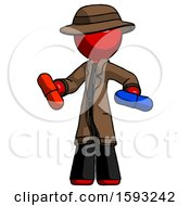 Red Detective Man Red Pill Or Blue Pill Concept