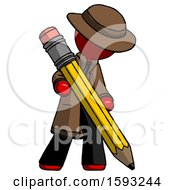 Red Detective Man Writing With Large Pencil