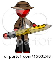 Red Detective Man Writer Or Blogger Holding Large Pencil
