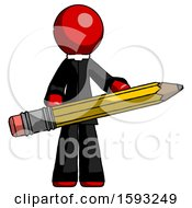 Red Clergy Man Writer Or Blogger Holding Large Pencil