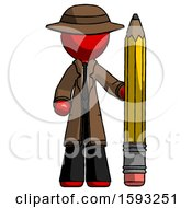 Red Detective Man With Large Pencil Standing Ready To Write