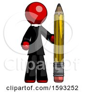 Red Clergy Man With Large Pencil Standing Ready To Write