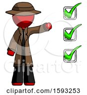 Red Detective Man Standing By List Of Checkmarks