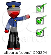 Red Police Man Standing By List Of Checkmarks