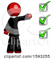 Red Clergy Man Standing By List Of Checkmarks