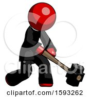 Red Clergy Man Hitting With Sledgehammer Or Smashing Something At Angle