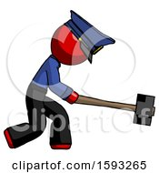 Red Police Man Hitting With Sledgehammer Or Smashing Something