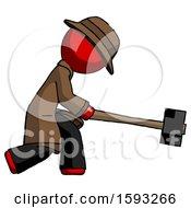 Red Detective Man Hitting With Sledgehammer Or Smashing Something