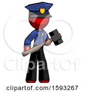 Red Police Man With Sledgehammer Standing Ready To Work Or Defend