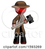 Red Detective Man With Sledgehammer Standing Ready To Work Or Defend