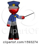 Red Police Man Teacher Or Conductor With Stick Or Baton Directing