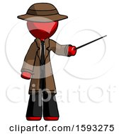 Red Detective Man Teacher Or Conductor With Stick Or Baton Directing