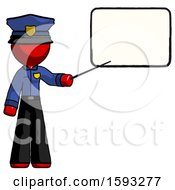 Red Police Man Giving Presentation In Front Of Dry Erase Board