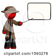 Red Detective Man Giving Presentation In Front Of Dry Erase Board