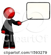 Red Clergy Man Giving Presentation In Front Of Dry Erase Board