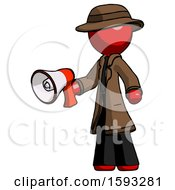 Red Detective Man Holding Megaphone Bullhorn Facing Right