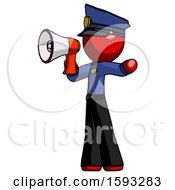 Red Police Man Shouting Into Megaphone Bullhorn Facing Left