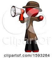 Red Detective Man Shouting Into Megaphone Bullhorn Facing Left