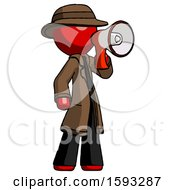 Red Detective Man Shouting Into Megaphone Bullhorn Facing Right