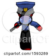 Red Police Man Looking Down Through Magnifying Glass