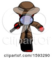 Red Detective Man Looking Down Through Magnifying Glass