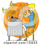 Pretty Blond Woman In A Blue Dress Typing Extremely Fast On A Typewriter
