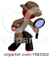 Red Detective Man Inspecting With Large Magnifying Glass Right