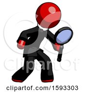 Red Clergy Man Inspecting With Large Magnifying Glass Right