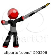 Red Clergy Man Pen Is Mightier Than The Sword Calligraphy Pose