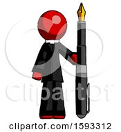 Red Clergy Man Holding Giant Calligraphy Pen