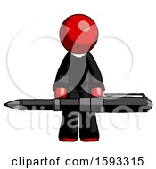 Red Clergy Man Weightlifting A Giant Pen