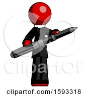 Red Clergy Man Posing Confidently With Giant Pen