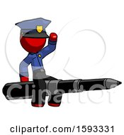 Red Police Man Riding A Pen Like A Giant Rocket