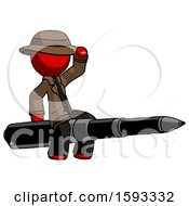 Red Detective Man Riding A Pen Like A Giant Rocket