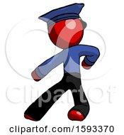 Red Police Man Karate Defense Pose Left