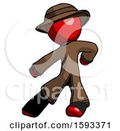 Red Detective Man Karate Defense Pose Left