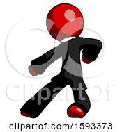 Red Clergy Man Karate Defense Pose Left
