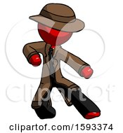 Red Detective Man Karate Defense Pose Right