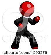 Red Clergy Man Martial Arts Defense Pose Right