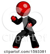 Red Clergy Man Martial Arts Defense Pose Left