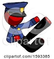 Red Police Man Flying Ninja Kick Right