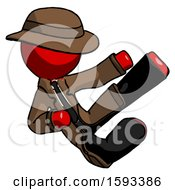 Red Detective Man Flying Ninja Kick Right