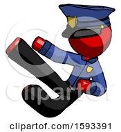 Red Police Man Flying Ninja Kick Left