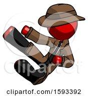 Red Detective Man Flying Ninja Kick Left
