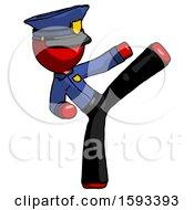 Red Police Man Ninja Kick Right
