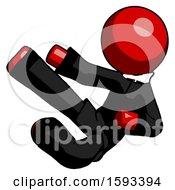 Red Clergy Man Flying Ninja Kick Left
